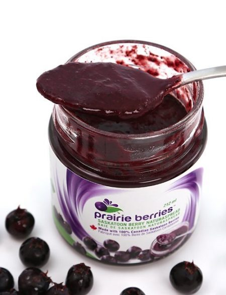 no sugar added saskatoon berry spread jar