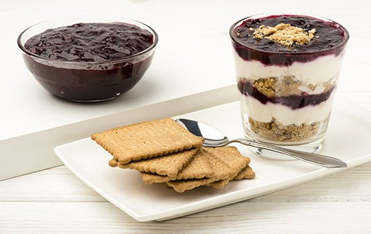 saskatoon berry yogurt and crackers