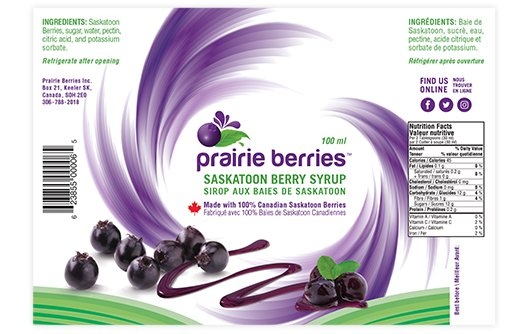 saskatoon berry syrup packaging